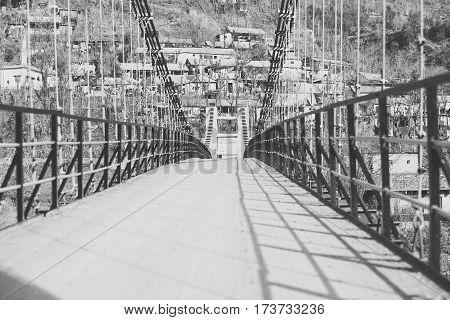 suspension bridge. The swat valley of Pakistan.