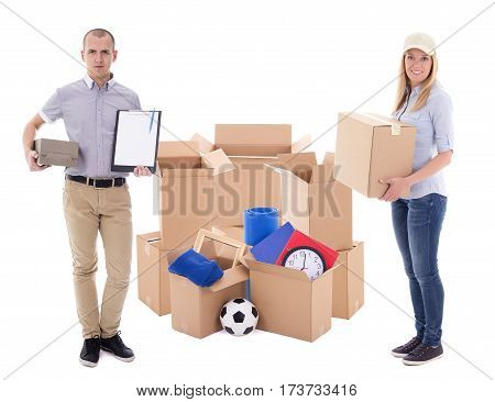 Moving Day Or Delivery Concept - Couple With Cardboard Boxes With Stuff Isolated On White