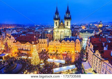 Prague, Czech Repubilc. Christmas market in Old Town Square.