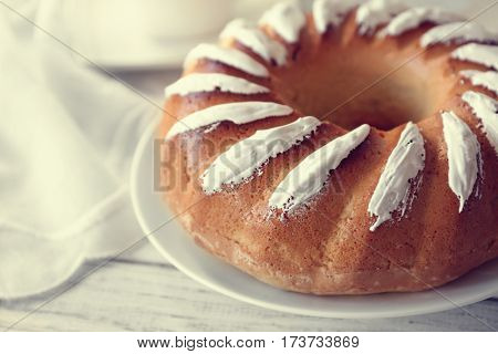 Tasty Easter cake on table