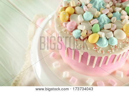 Beautiful Easter cake on vintage stand