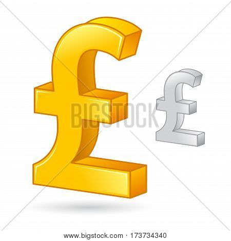 Vector stock of a golden and silver Pound Sterling money currency symbol