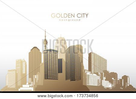 Golden cityscape with skyscrapers on white background.