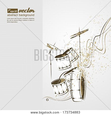 Simplified vector illustration - drum set. Music Notes lines.