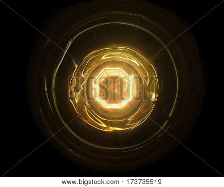 abstract fire ball with core inner and ring.technology power source concept.close up under light bulb