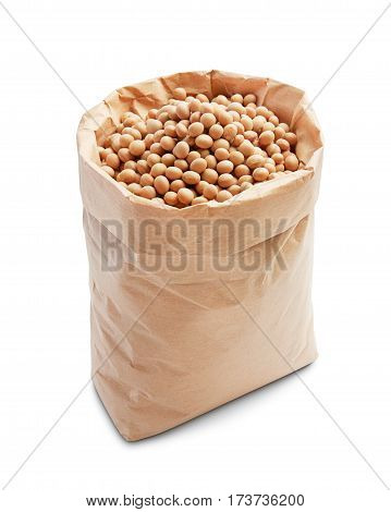 soybeans in paper bag isolated on white