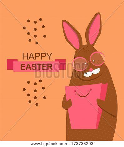 easter rabbit with shopping bag . Fashion, glamor