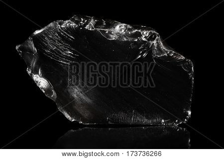 Obsidian, Volcanic Glass, Black Background, Natural Rock