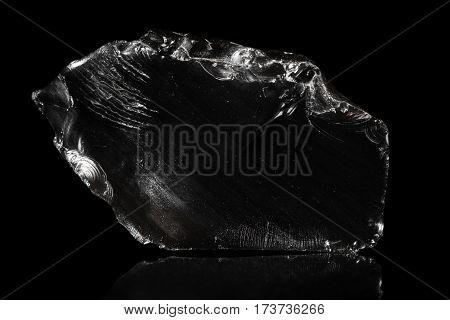 Obsidian, Volcanic Glass, Black Background, Natural Rock