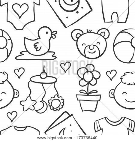 Collection stock of baby design doodles vector art