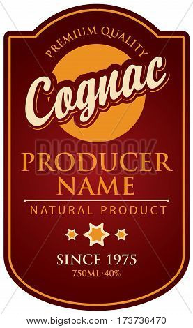 label in curly frame for cognac Burgundy background