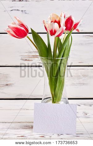Flowers in vase and card. Good morning to you.
