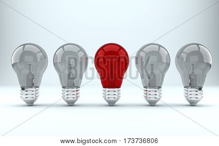 Business concepts illustration. Individuality and leadership in team. lamps. 3d render