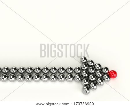 Illustration of leader leads the team forward. Arrow from balls. 3d render