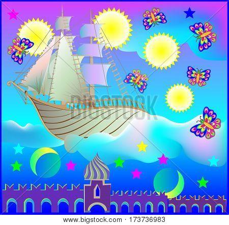 Fairyland fantasy ship in wonderland, vector cartoon image.
