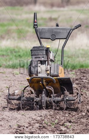 Garden tiller to work tractor cultivating field at spring loosens soil by petrol cultivator front view