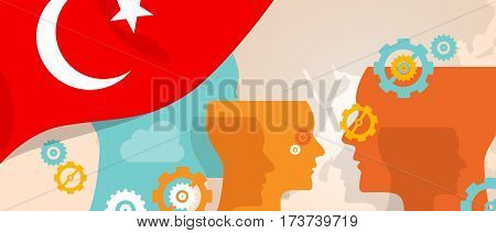 Turkey concept of thinking growing innovation discuss country future brain storming under different view represented with heads gears and flag vector