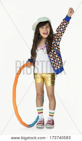 Little Girl Smiling Happiness Hula Hoop Studio Portrait