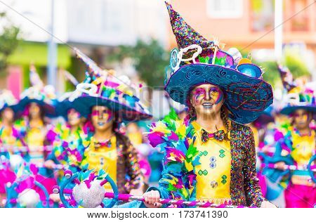 Badajoz, Spain, Sunday. February.26. 2017 Participants In Colorful Costumes Take Part In The Carniva