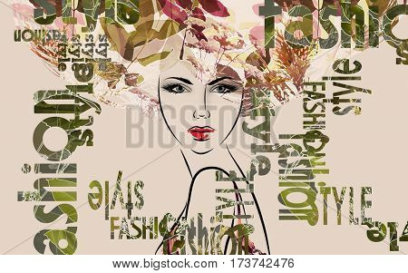 art colorful sketched beautiful girl face in mixed media style with gold, yellow, green and brown floral curly hair on sepia background with word fashion, style, model