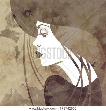 art monochrome brown, black and grey sketched beautiful girl face in profile in hat and long straight hair on floral background in mixed media style