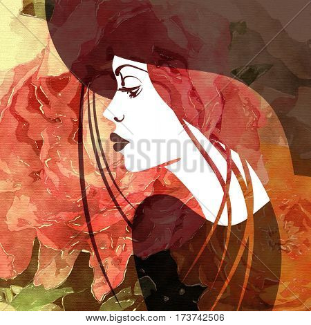 art colorful sketched beautiful girl face in profile in hat and long straight hair on red, orange, purple and brown floral background in mixed media style