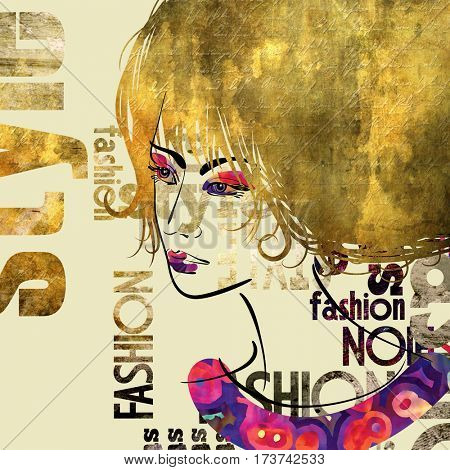 art colorful sketched beautiful girl face in profile with gold curly hair on sepia background in mixed media style with word fashion, style, model