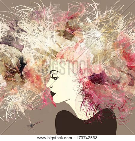 art colorful sketched beautiful girl face in profile with flowers in curly long hair on sepia background in mixed media style