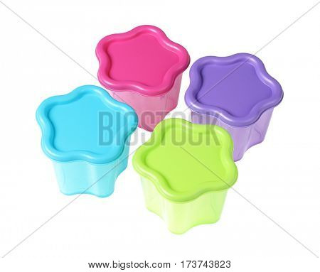 Colourful Floral Shape Plastic Containers on White Background