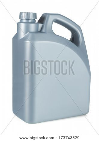 Plastic Motor Oil Container on White Background
