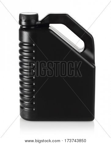 Black Engine Oil Container on White Background