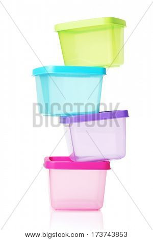 Stack of Colorful Plastic Containers on White Background
