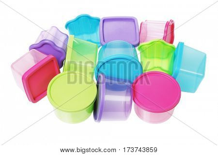 Assorted Colorful Plastic Containers on White Background