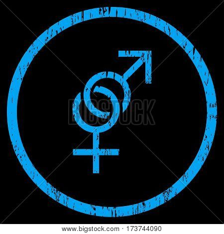 Sex Symbol grainy textured icon for overlay watermark stamps. Rounded flat vector symbol with dirty texture. Circled blue ink rubber seal stamp with grunge design on a black background.