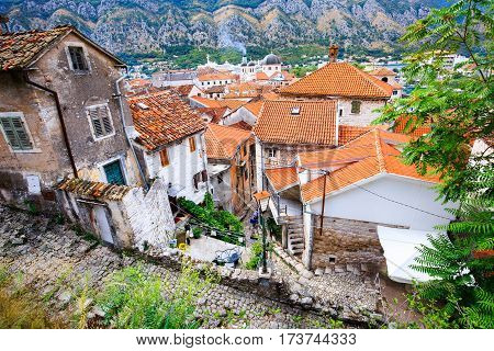 View of the old town Kotor, roof tops and red tile in Bay of Kotor, Montenegro. Medieval cityscape.