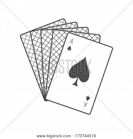 Playing Cards vector in monochrome, black color. Spread out cards with ace on top. Illustration for gambling industry, sport lottery services, icons, web pages, logo design. Isolated on white