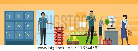 Shopping in supermarket vector. Flat style design. Buyers and store employees in grocery store interior. Guard at the exit near lockers, customers with fruits, seller in apron working on scales.