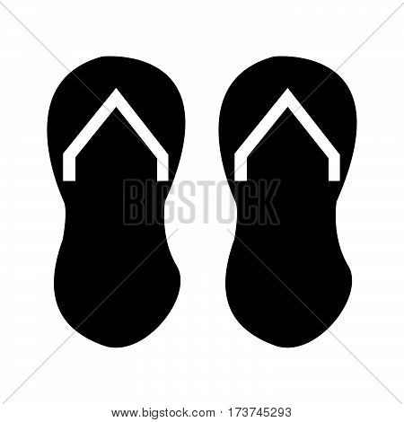 simple flat black disposable slippers icon vector