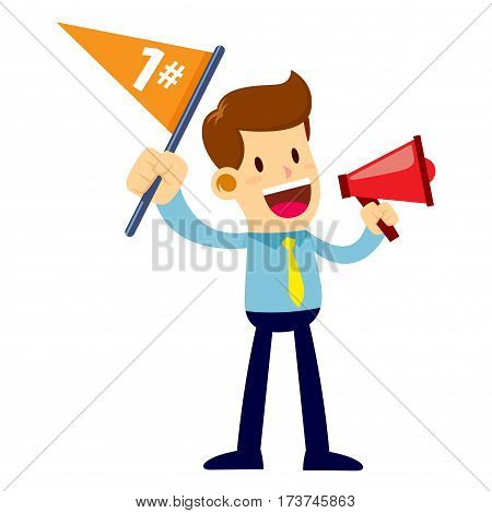 Vector stock of a businessman shouting through loudspeaker while waving number one flag
