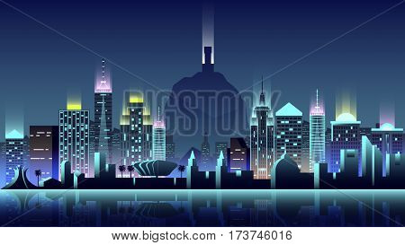 Vector illustration background city night neon style architecture buildings town country travel Brazil South America, Rio de Janeiro statue Christ Savior, top mountain Corcovado, skyscrapers, welcome