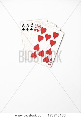 Poker hand ranking symbol set Playing cards in casino: one pair ace two three eight on white background luck abstract vertical copyspace on white