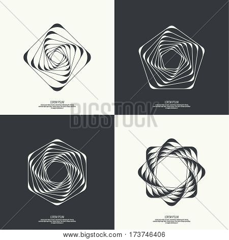 Set Abstract background with intersecting geometric shapes. Badge, monogram, banner. Black and White. shutter. square, rectangle, pentagon hexagon geometry