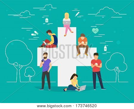 Pharmacy mobile app concept. Flat illustration of young men and women near big cross symbol and using smart phones for ordering and purchase pills and medicine drugs via mobile app and internet website