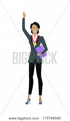 Business woman in business suit with golden medal on his chest. Winner business concept. Business success and award concept. Smiling young woman personage in flat design. Vector illustration