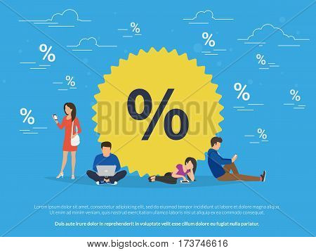 Sale symbol concept illustration of people using mobile gadgets such as tablet, laptop and smartphone for online purchasing goods with sale coupons and offers. Flat guys and women near yellow symbol