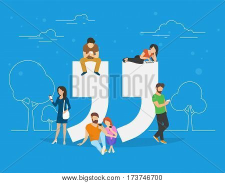 Testimonials symbol concept illustration of young people using smartphone to make comments in social network. Flat people addicted to leave testimonials for images and news sitting on big quote symbol