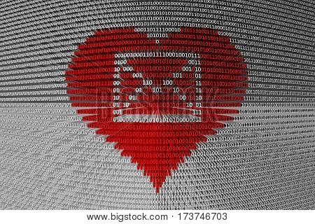 email in the form binary code 3D illustration