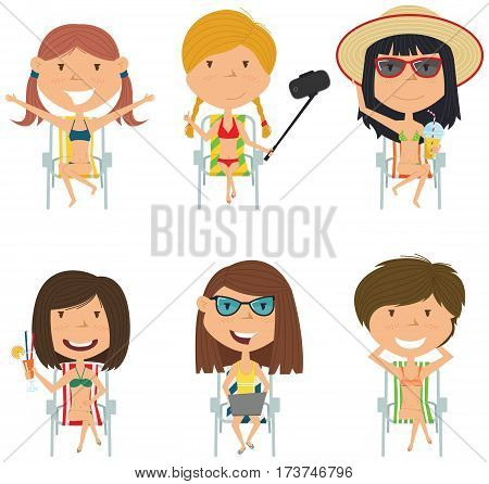 Happy female characters sitting on deck chair vector illustration. Cute summer girls resting on the beach with refreshing drinks with a laptop take a sun bath make selfie. Beach kids isolated set.