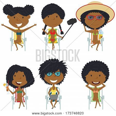 Happy African-American female characters sitting on deck chair vector illustration. Cute summer girls resting on the beach with refreshing drinks with a laptop take a sun bath make selfie. Beach kids isolated set.