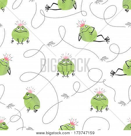 Seamless pattern with cute frogs and mosquitoes. Vector funny background for kids.